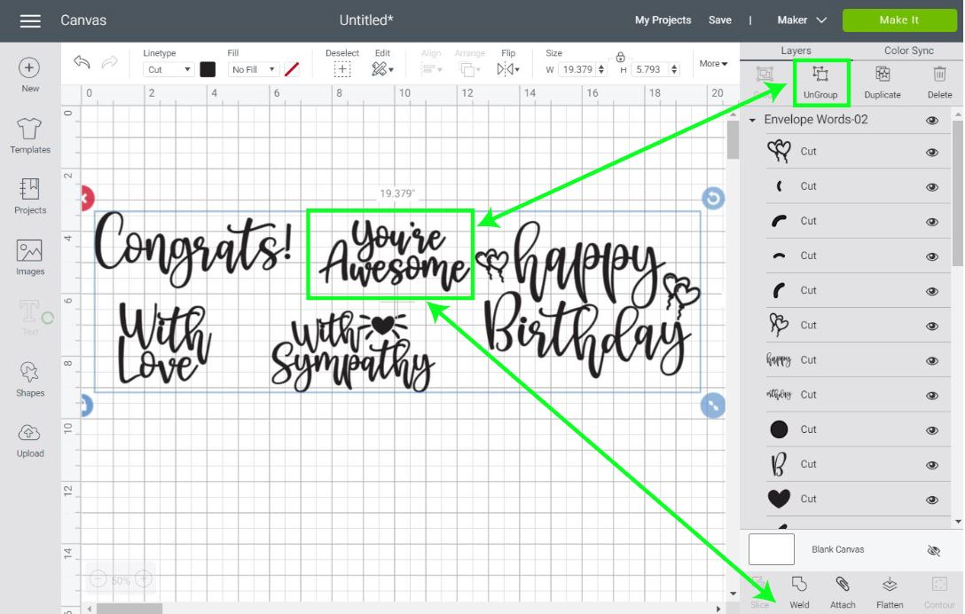 welding and organizing expressions in Cricut Design Space