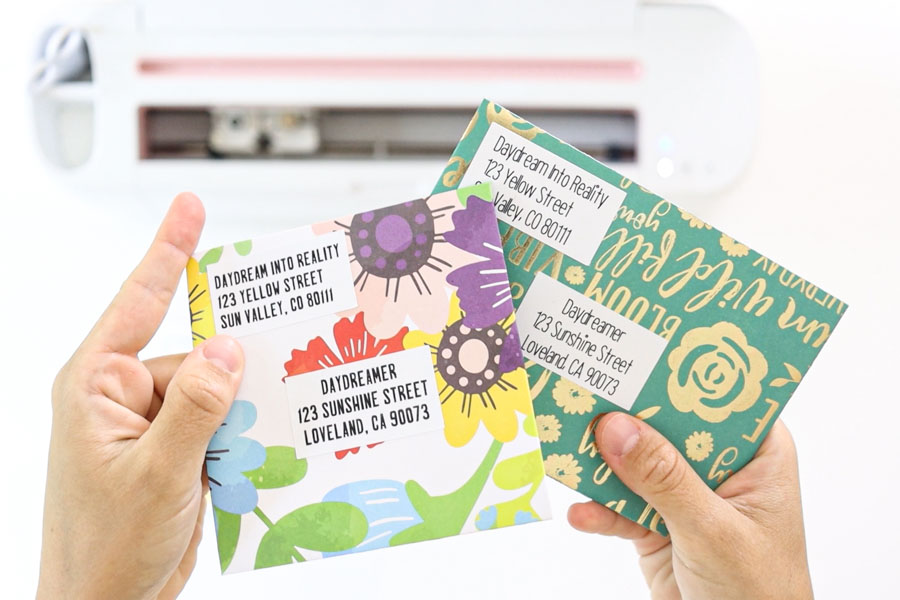 envelopes addressed with sticker labels