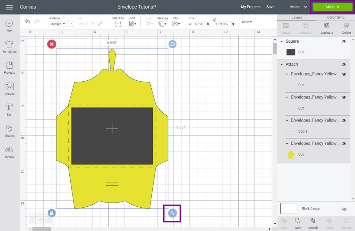 resizing an envelope in Cricut Design Space