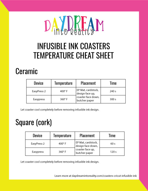 infusible ink coasters temperature info graphic.