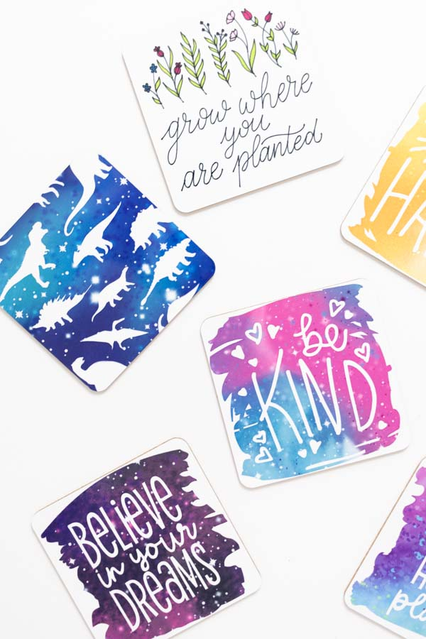 different coasters made with cricut infusible ink