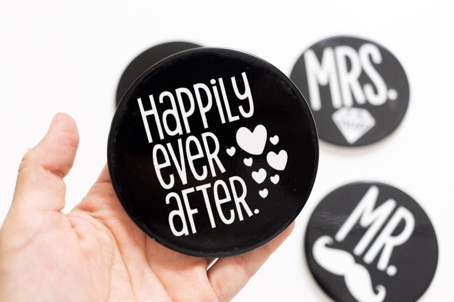 happily ever after cricut ceramic coaster