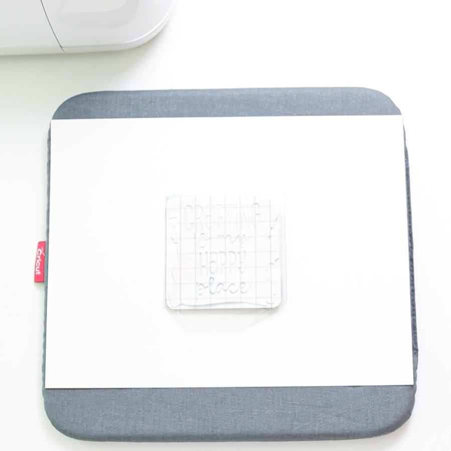 easypress mat, cardstock, and cork coaster