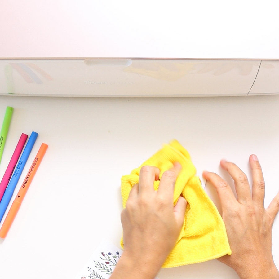 wipe down coaster with microfiber cloth