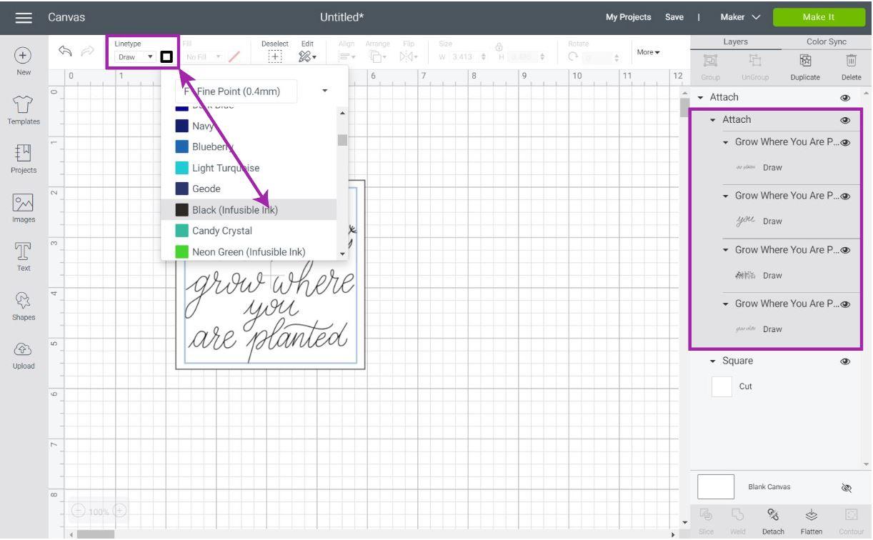 selecting cricut infusible ink pen in cricut design space