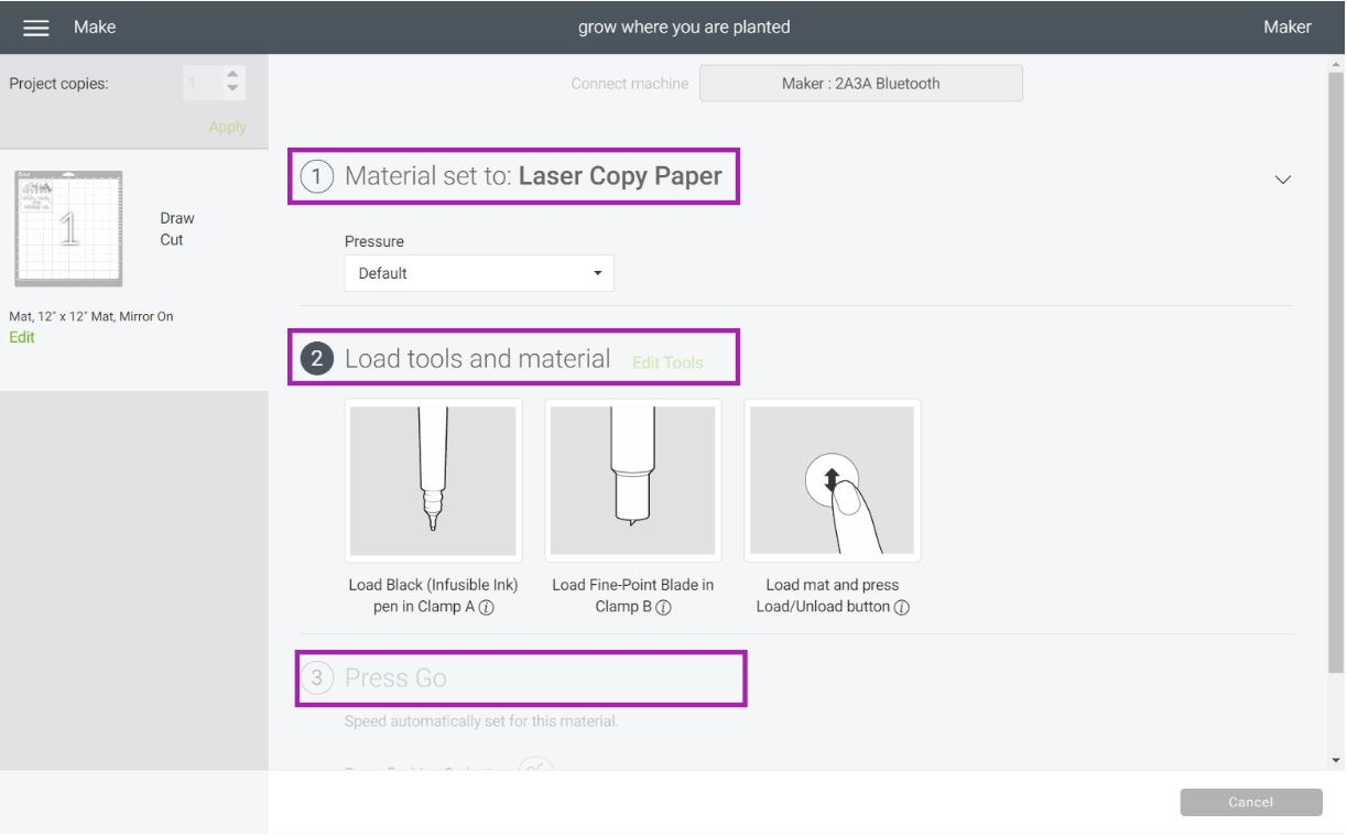 selecting materials in cricut design space