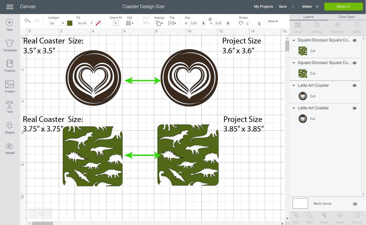 coaster and project size in design space
