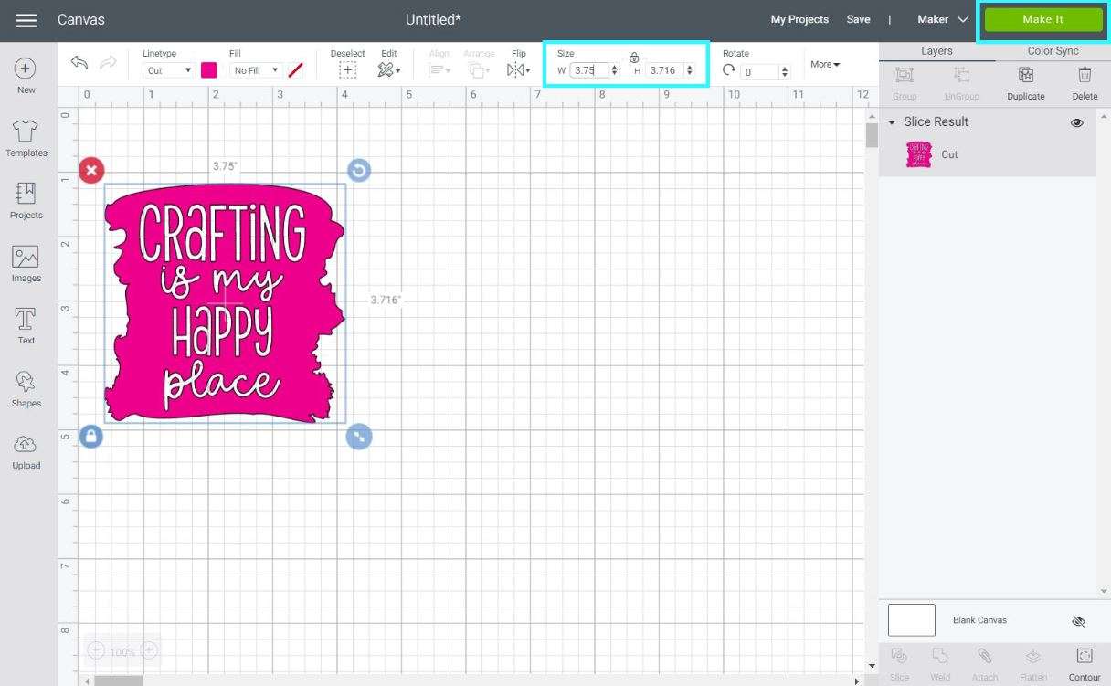 resizing image in cricut design space