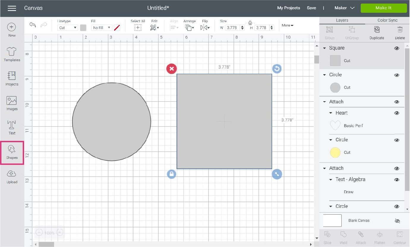 circle and square in Cricut Design Space