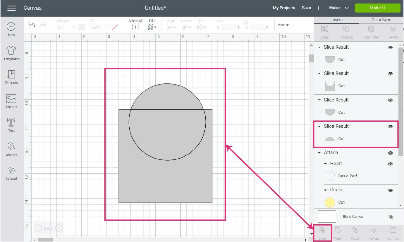 slicing circle and square in Cricut Design Space