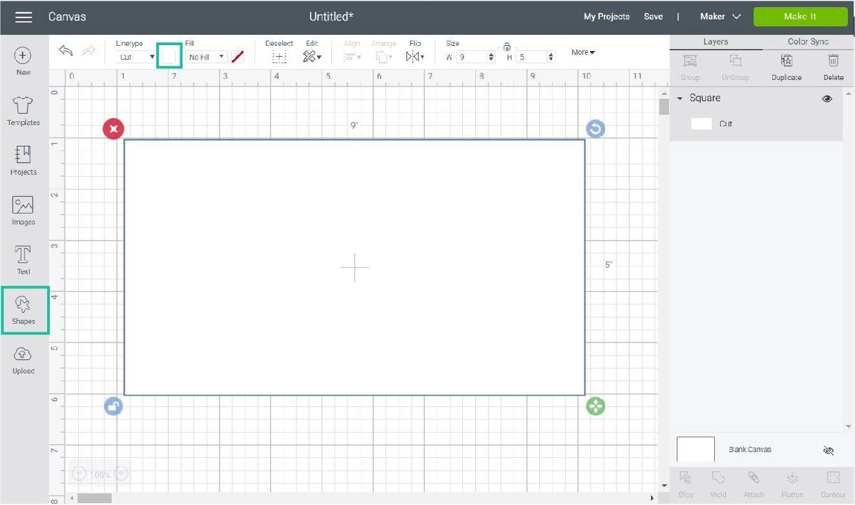 adding a rectangle in Cricut Design Space
