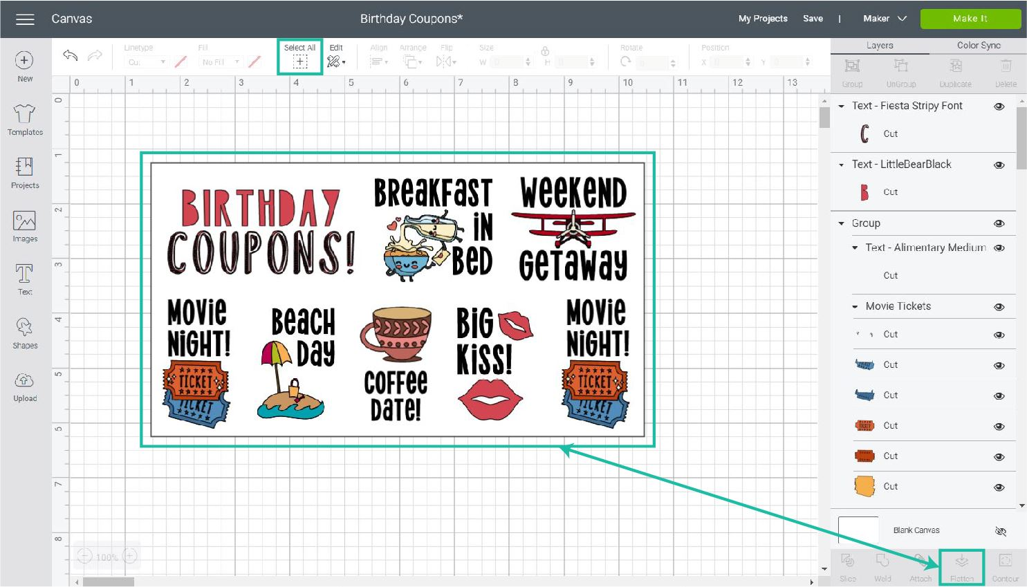 Completing print then cut coupons in Cricut Design Space