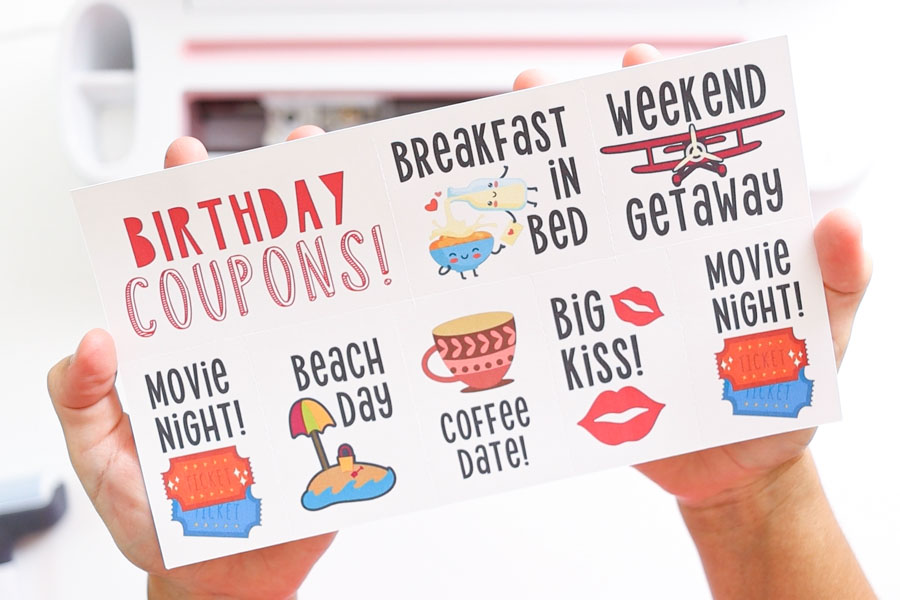 Birthday coupons page - cricut print then cut and perforation blade project.