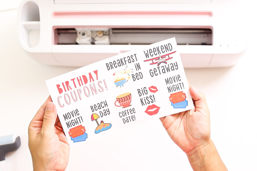 birthday coupons made with Cricut perforation blade and print then cut
