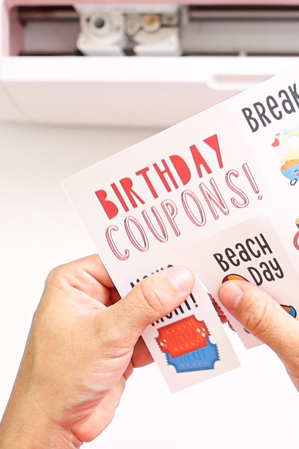 brithday coupon made with Cricut Maker and perforation blade