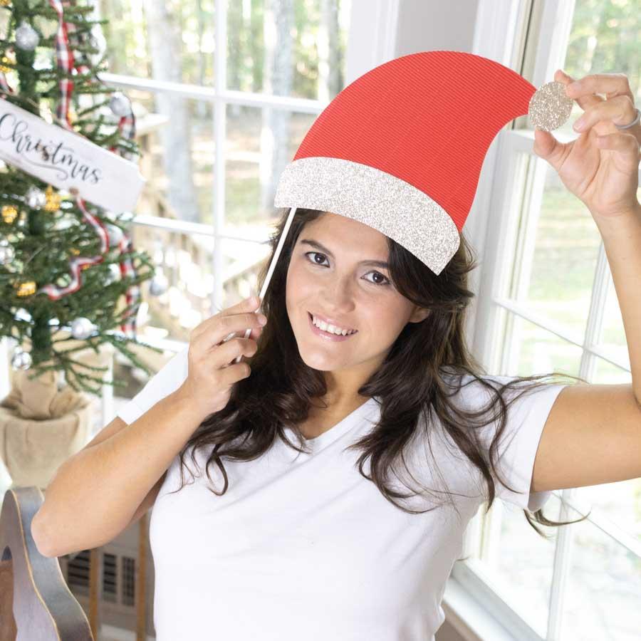 Santa hat photo prop made with Cricut