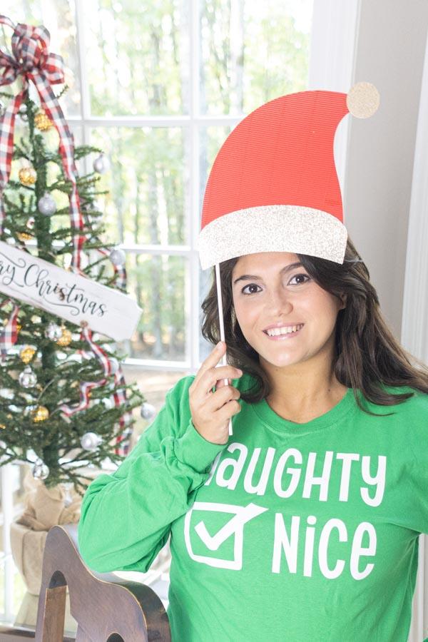 Funny naughty or nice Christmas t-shirt made with Cricut