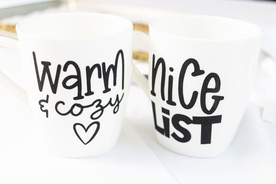 christmas mugs personalized for Christmas with Cricut