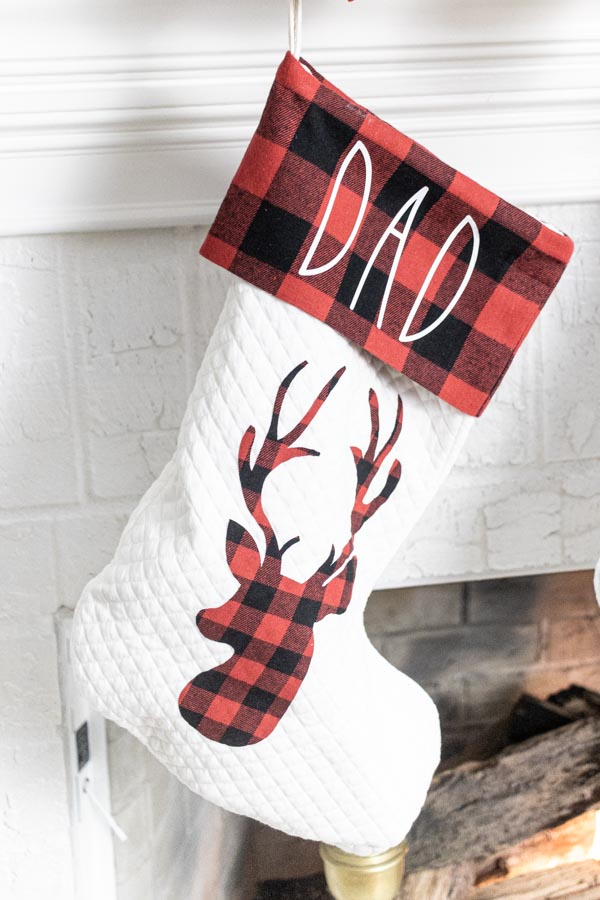 personalized christmas stocking made with Cricut (Dad)