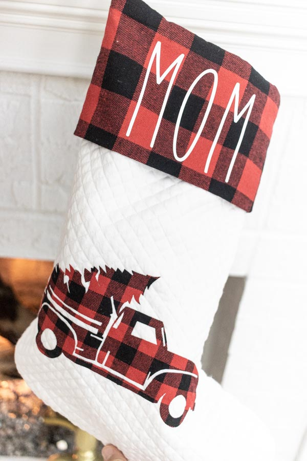 personalized christmas stocking made with Cricut (mom)