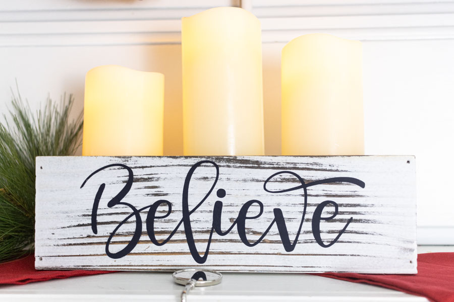 Believe wooden box for Christmas