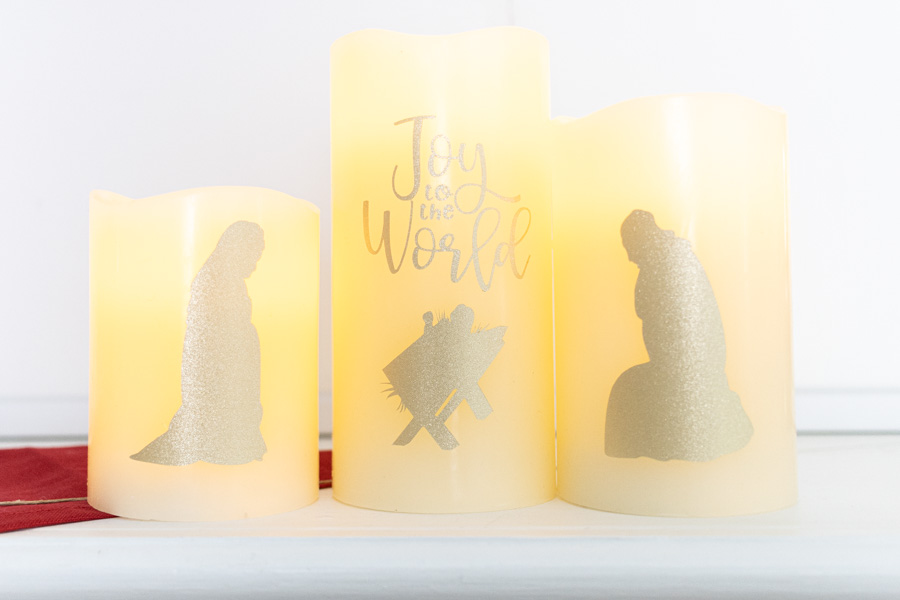 Joy to the world manger candles made with Cricut