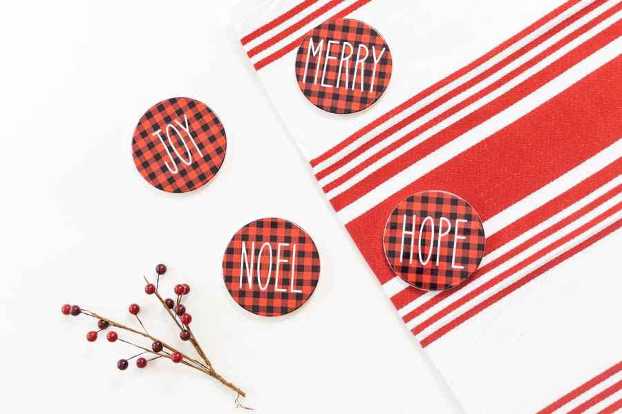 Christmas Infusible Ink Coasters made with Cricut