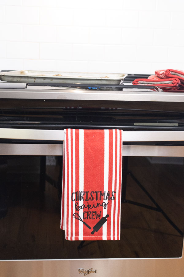 Christmas Baking Crew Kitchen towel made with Cricut