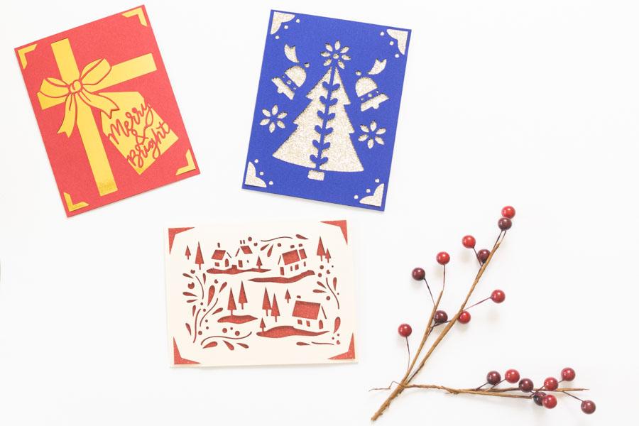 Multiple Christmas Cards made with Cricut Joy