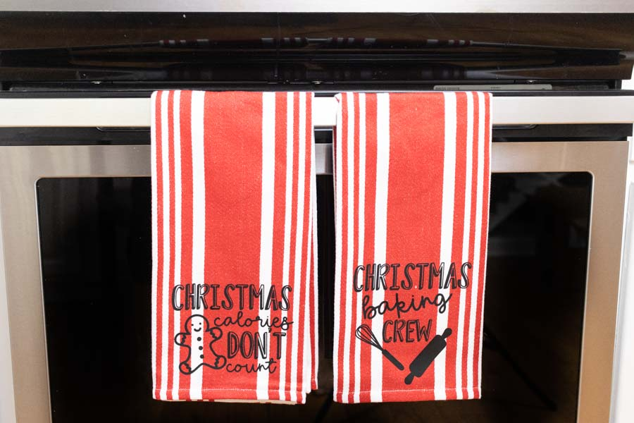 customized with cricut Christmas kitchen towels