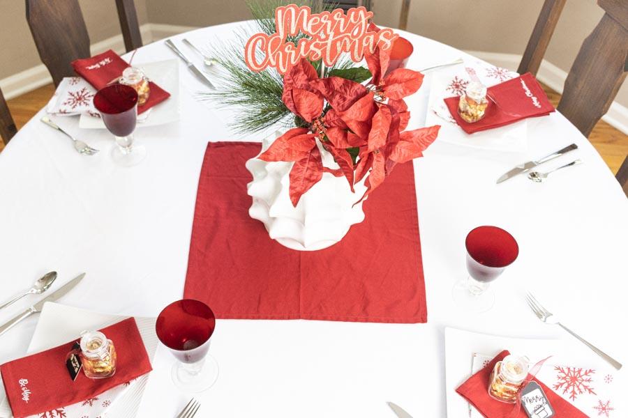 table setting for Christmas with Cricut