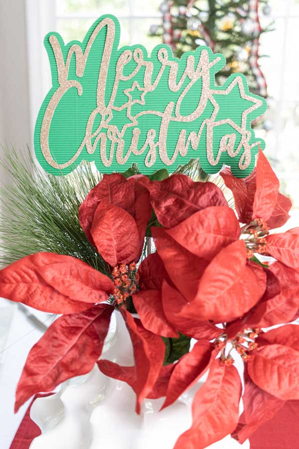 green and gold christmas cake topper