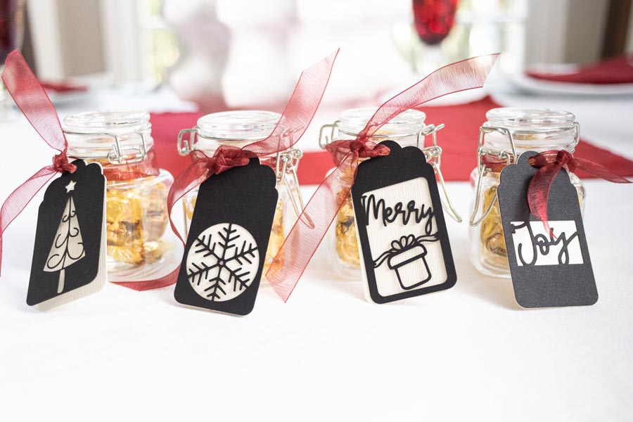 Different Christmas Party favor personalized with Cricut gift tags