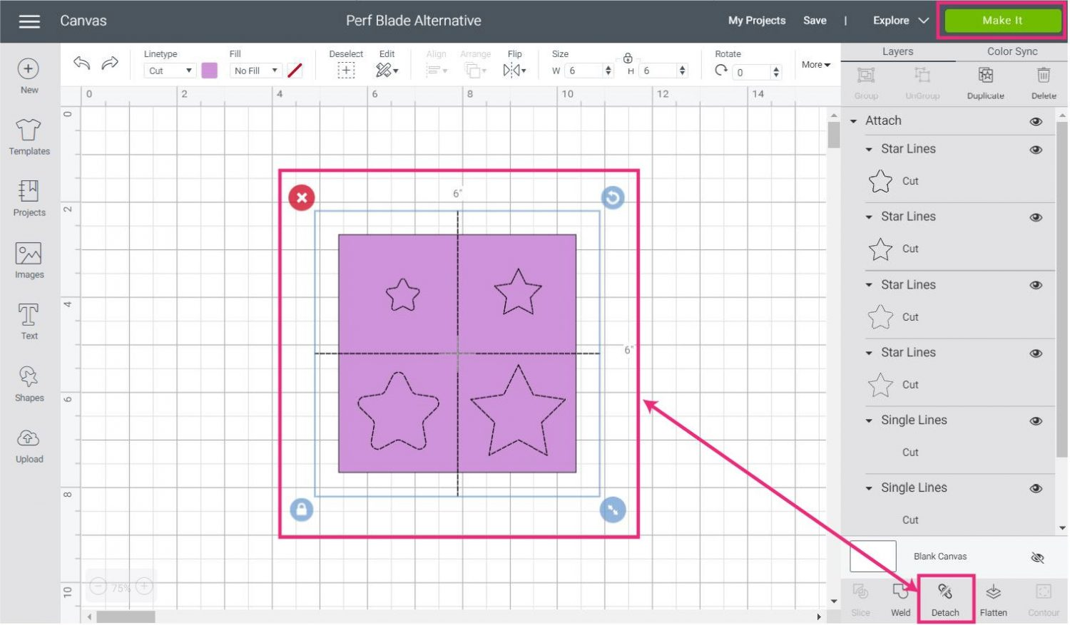 attaching lines to square in Cricut Design Space