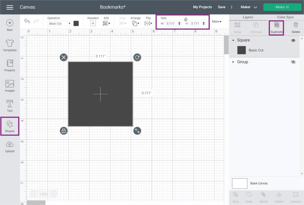 Adding a square  in Cricut Design Space