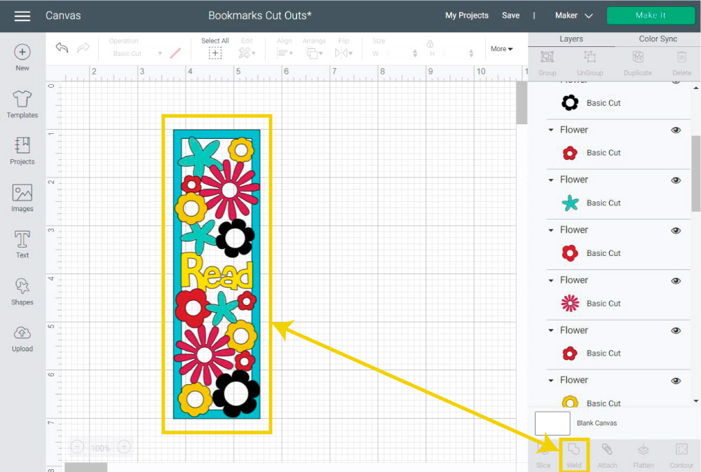 Welding cut-out bookmark in Cricut Design Space