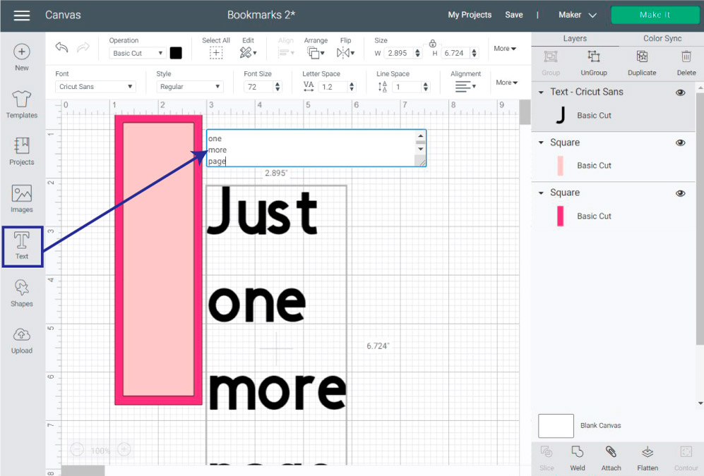 adding text in Cricut Design Space for bookmark