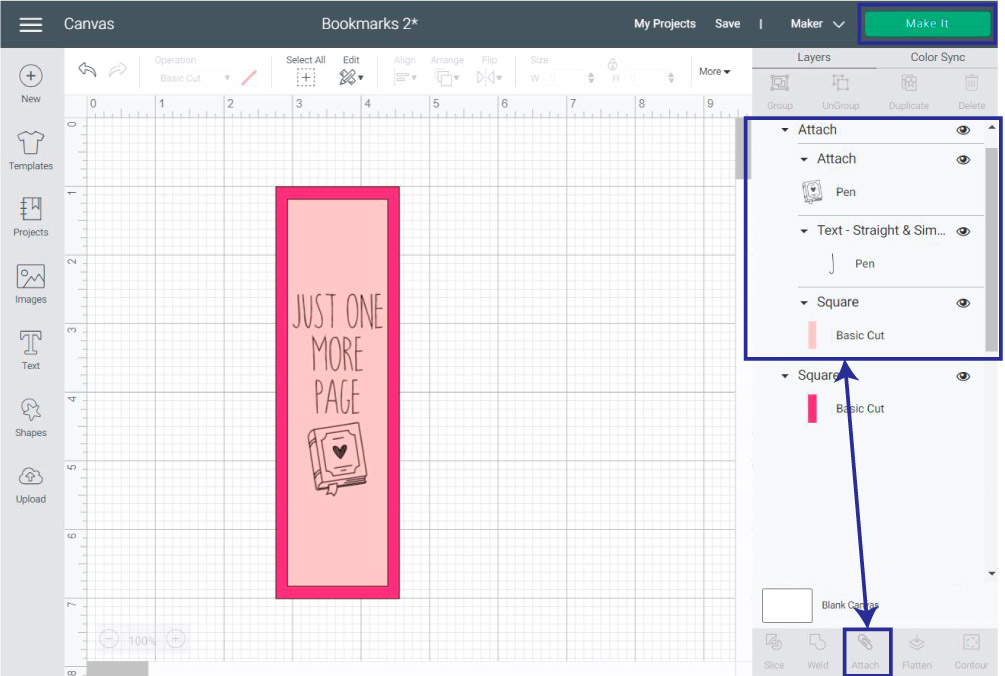 attaching bookmark with text in Cricut Design Space.