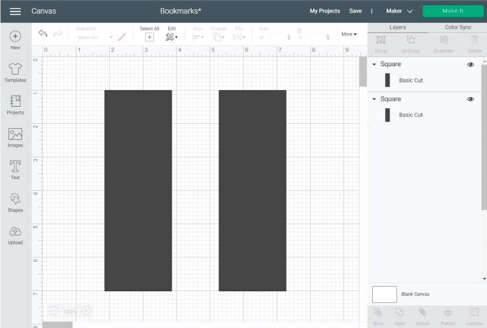 bookmark initial template in Cricut Design Space