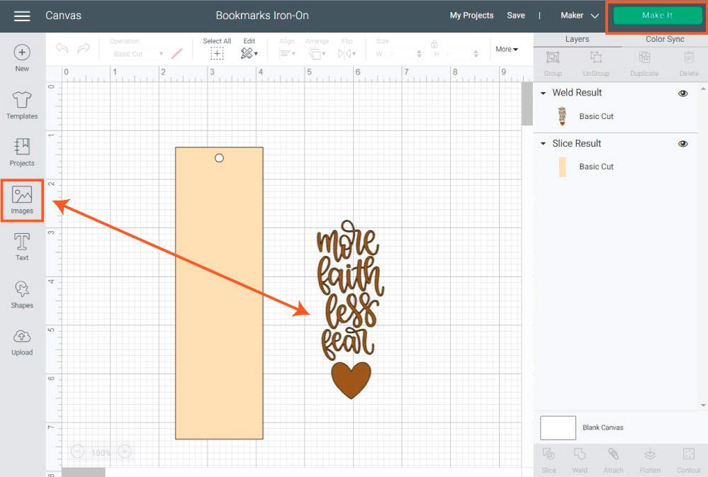 simple bookmark design in Cricut Design Space