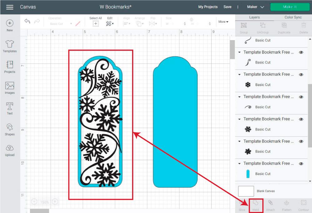 Welding winter bookmark in Cricut Design Space