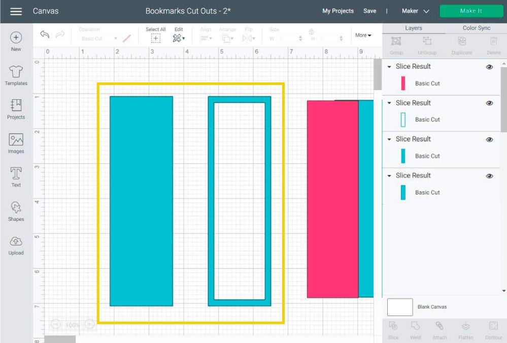 "Creating a bookmark ""frame"" in Cricut Design Space"