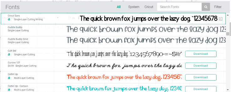 """Font"" window in Cricut Design Space"