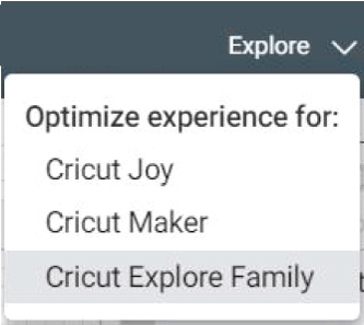 Drop-down menu machine selection Cricut Design Space