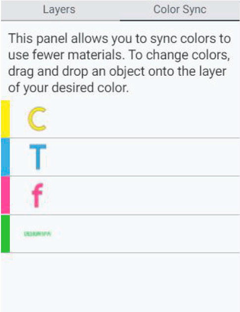 color sync panel in cricut design space