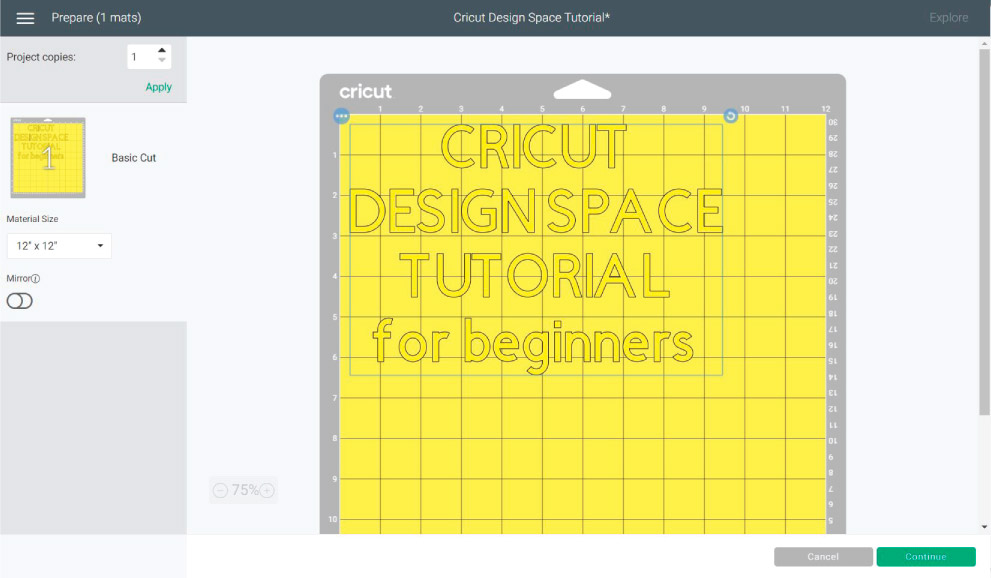 """MAKE IT"" Mat preview in Cricut Design Space."