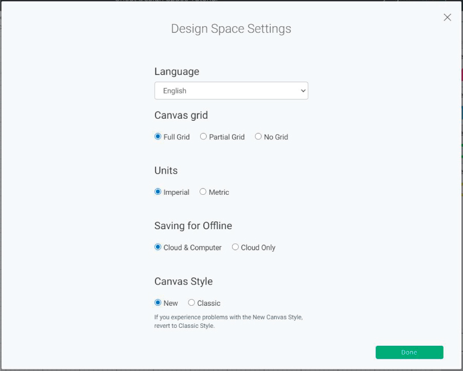 cricut design space settings