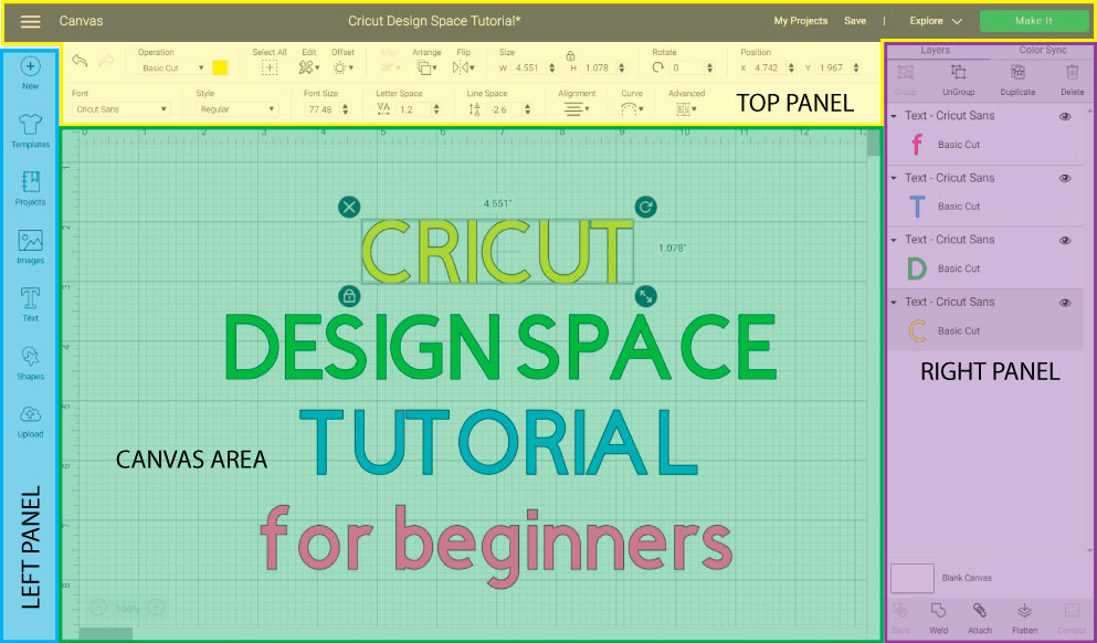 Cricut Design Space divided in 4 colors