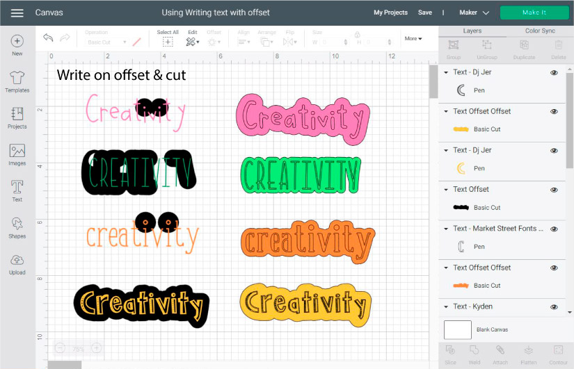 using offset tool for writing text in cricut design space.