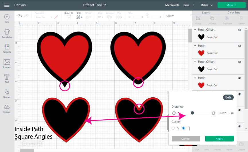 making outlines and shadows for hearts with the offset tool in Cricut Design Space.